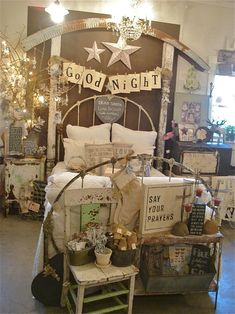 Oh! I just want to re-create this look for my upstairs guest bedroom except with 2 beds. What a magical room it would be for my Glitter Girls to stay in when they come to visit Auntie TT.