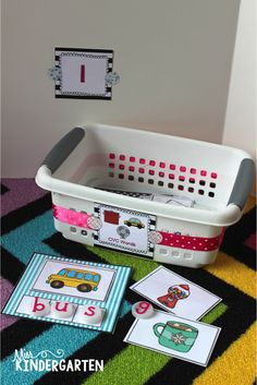 Organizing Math and Literacy Stations  (Miss Kindergarten Blog) preschool