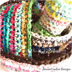 Up-Cycled Ribbons Basket By AnnooCrochet Designs