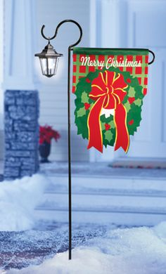 Merry Christmas Solar Wreath Flag Garden Stake