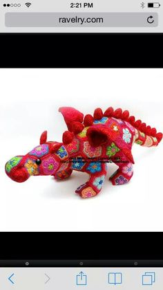 Crocheted Flower Patch Dragon