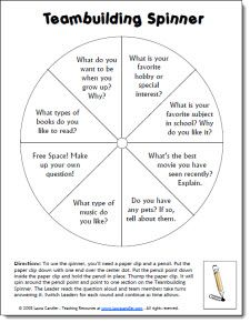 Teambuilding Spinner freebie - great back to school activity