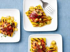 Pineapple Polenta Squares with Shrimp from Food Network Magazine