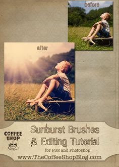Free photoshop/pse sunburst brush and tutorial
