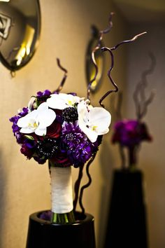 Deep purples and white phalaenopsis. A Garden Party | Blog