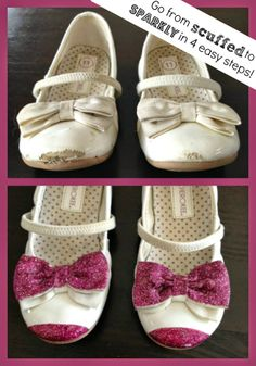 Turn scuffed shoes into sparkly glitter shoes in minutes #diy glitter shoes, scuffed shoes, toddler shoes