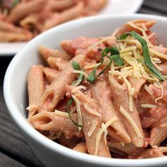 """Penne alla """"not-ka"""" brings the same tangy flavor and comforting texture indicative of the original."""
