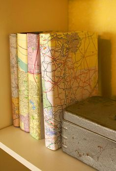 DIY: Map-covered books.