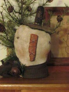 Primitive Antique Linen Rag Stuffed Snowman Shelf Sitter~ SOLD | Primitive Handmades Mercantile
