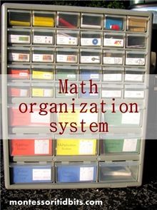 Montessori math organization using a tacklebox from Montessori Tidbits