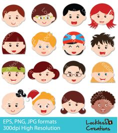 Happy Faces Digital Clip Art by LocklessCreations on Etsy, $5.00
