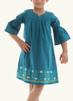 Embroidered dress for Kids. Available in Petrol Blue at Anotahshop.com #fashion