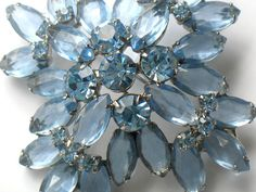 Juliana Blue Rhinestone Brooch Delizza and Elster High Fashion by JewelryQuestDesign, $65.99