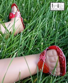 Doll sized sandals made with Duck Tape!