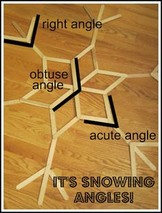 It's snowing angles! Identify acute, obtuse, and right angles in a free printable and make a popsicle stick snowflake!