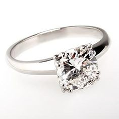 Vintage 1 Carat Diamond Engagement Ring Solitaire Platinum