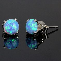 Featured on Etsy: 1.3 carats Light Blue Opal Crown Set Stud Post by 1000jewels, $25.00