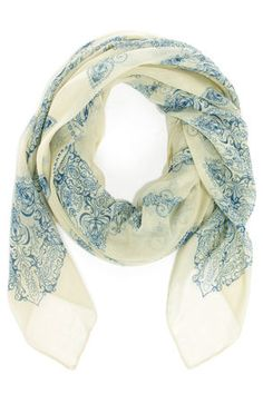 light sage and blue print scarf / lulu's