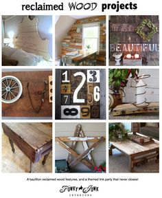 Reclaimed Wood DIY Projects - features galore and a themed link party that never closes via Funky Junk Interiors