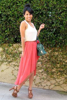 coral hi-low skirt