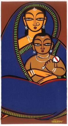 Jamini Roy painting - Mother and Child (Water Color on Card-Paper - Unframed))