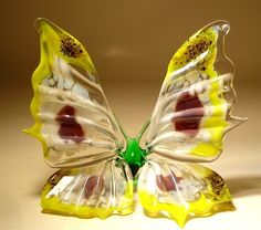 "Blown Glass ""Murano"" Art Figurine Insect Yellow, with Black"