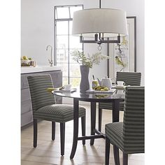 Levanto Side Chair, Halo Dining Table, Charles Chandelier
