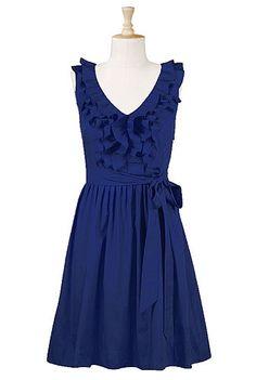 Pretty blue dress - love the ruffles & tied waist.