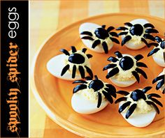 Halloween deviled eggs.. Omg.. Love this!! halloween parties, halloween devil, boiled eggs, halloween snacks, spider egg, deviled eggs, devil eggs, halloween appetizers, spooki spider