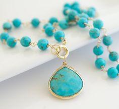 Turquoise Necklace Bezel Set Necklace Blue Necklace by Jewels2Luv, $52.50  #necklace #jewelry #turquoise #gifts #handmade