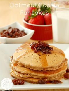 Oatmeal Cookie Pancakes (Serves 4: 1 C all-purpose flour, ¼ C whole wheat flour, ½ C quick oats, ¼ C brown sugar, 2 t cinnamon, ½ tsp nutmeg, ⅛ t ginger, ⅛ tsp cloves, ½ t salt, 2 t baking powder, ½ t baking soda, 1⅓ C non-fat milk, 1 egg, 1½ t vanilla extract, and optional: chocolate chips, raisins, butterscotch chips for stirring in or for topping)