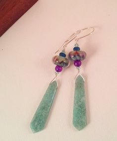 Tassel+Earrings+Limassol++Amazonite+Boro+Beads+Purple+by+Intealect,+$49.00