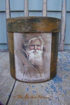 pantry box vintag santa, santa pantri, brown christma, boxes, pantries, christmas, time santa, pantri box, primit christma