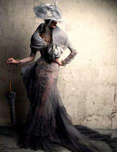john galliano, christians, fashion, style, christian dior, dresses, patrick demarchelier, hat, haute couture