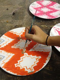 Hand painted Ikat plates.
