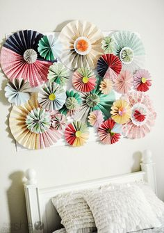 DIY Chic Paper Rosette Tutorial! This is beautiful for home decor, party decor, etc