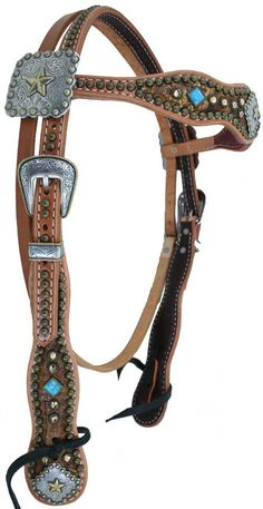 Cowboy Headstall with butterscotch croc hide, turquoise stones and light colorado crystals, square goldberry star conchos and gold rope edge buckle sets.  Luan's Leathers...#tack