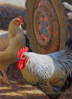 Nobody Here But Us Chickens 7x5, painting by artist George Lockwood