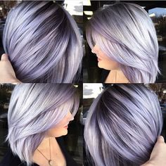 "Silver lavender hair color and smooth bob with shadow base by Brittnie Garcia <a class=""pintag searchlink"" data-query=""%23hotonbeauty"" data-type=""hashtag"" href=""/search/?q=%23hotonbeauty&rs=hashtag"" rel=""nofollow"" title=""#hotonbeauty search Pinterest"">#hotonbeauty</a>"