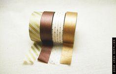 Festive Metallic Washi Tape Set  - Gold and White Stripes, Copper, Bronze, Gold Dots Decorative Tape / Pretty and Shiny Holiday Gift Wrap. $14.00, via Etsy.