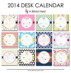 2014 Calendar Desk Calendar REFILL by ABlissfulNestShop on Etsy-$12