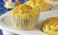 "Mac and cheese ""cupcakes""- great idea for kids dinner, plus I love that the recipe is relatively low-fat (at least for mac and cheese)."