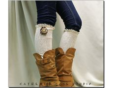 Crazy Cate lace boot socks  Crochet flower by CatherineColeStudio, $24.90