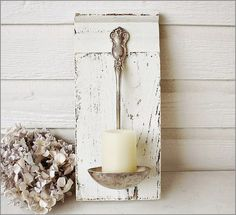 DIY candle holder decor, craft, idea, candle holders, candles, ladl, spoon, candl holder, diy