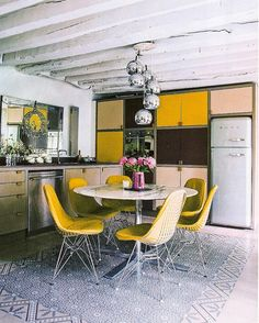 Adore this tiled kitchen floor.