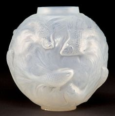 R. LALIQUE OPALESCENT GLASS FORMOSE VASE WITH GREY PATINA  Circa 1924  Engraved: R. Lalique, France, No 934