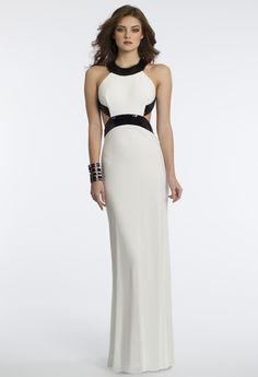 Camille La Vie Jersey Sequin Cut Out Prom Dress