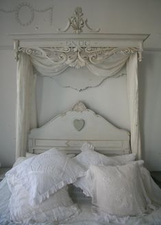 antique headboard  and shelf for gorgeous bedroom!
