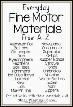 Fine Motor Materials You (Probably) Already Have at Home from Still Playing School