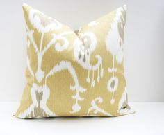Decorative Pillow Cover . Ikat Pillows. Yellow Pillow Cover. 16x16 inch pillow. Accent pillows. Cushion Cover Printed fabric on both sides. $16.00, via Etsy.